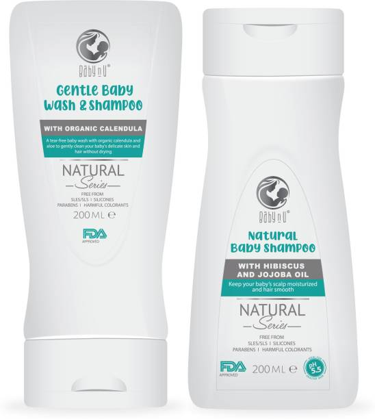 BabynU Natural Baby Wash Hair to Toe with Organic Calendula (200 ml) and Natural Shampoo with Hibiscus and Jojoba Oil  ph 5.5 Balanced (200ml)