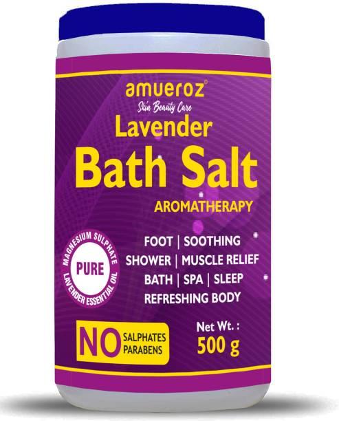 Amueroz Lavender Bath Salt | Epsom Salt Enriched With Lavender Oil For Bath, Foot, Shower, Sleep, SPA, Aching Muscles & Refreshing Body