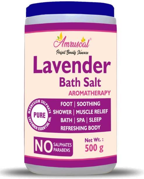 AMRUSOAL Epsom Salt Enriched With Lavender Oil, Lavender Bath Salt For Bath, Foot, Shower, Sleep, SPA, Aching Muscles & Refreshing Body