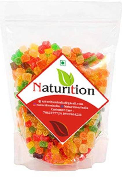 NATURITION Jelly Bites Sweet-Coated in Sugar and Brightly Coloured / Jelly Ball / Multi Colour Mix Fruit Jelly Munchies / Jelly Beans Mix Fruits Jelly Beans 1kg ALL FRUIT FLAVOUR Jelly Beans