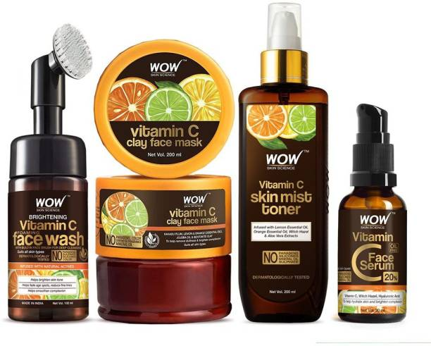 WOW SKIN SCIENCE Vitamin C face wash with brush + Vitamin C clay mask + Vitamin C toner + Vitamin C serum - Get That Glow Kit with Vitamin C, Lemon, Orange, Jojoba oils, Ferulic Acid, and Aloe Vera Extracts