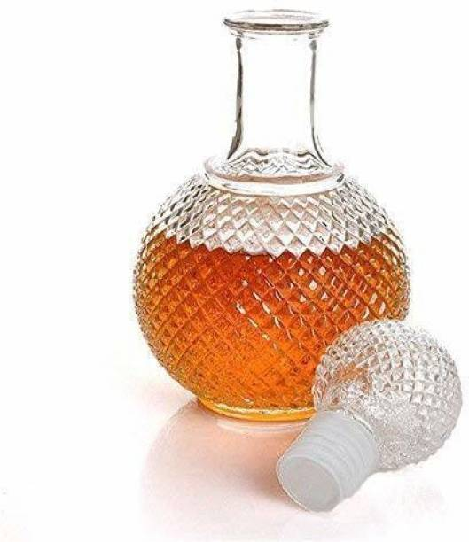 Masox Store Round Ball Shape Glass Decanter with Stopper Cap for Whiskey, Wine, Brandy, Scotch, Liquor, Champagne, Beer, Vodka, Water - 1000m (Set of 1) Decanter