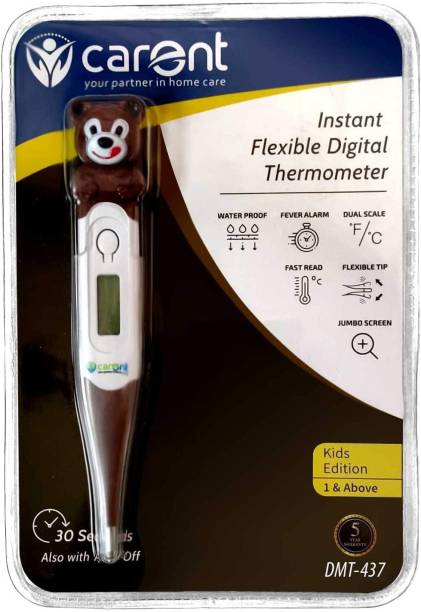 Carent DMT-437 Waterproof Instant Flexible Tip Digital Thermometer for Fever Body Temperature Machine for Kids Adults & Babies Thermometer with Fever Alarm Thermometer