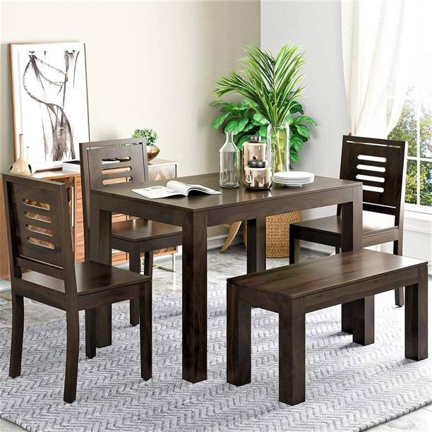 CUSTOM DÉCOR Solid Wood 4 Seater Dining Set