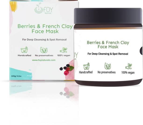 foynaturals Berries & French Clay Face mask | Handcrafted for Glowing Skin, Deep Cleansing - 100gm | Women & Men | Get fresh skin & clean pores | Made with Coconut Milk, Citrus Limon, Sun-dried strawberry & Carrot powder