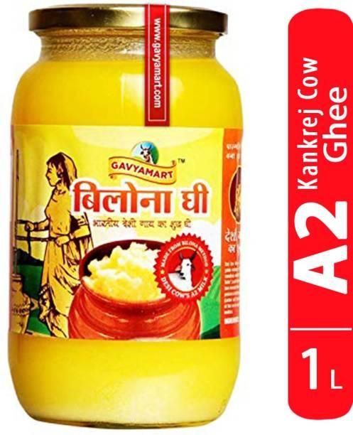 Gavyamart Vedic Bilona Ghee in Pantry, 100% Pure Kankrej A2 Cow Desi Ghee - Made Using Traditional Bilona Method Ghee 1 L - Glass Bottle Pack Non GMO - Cow A2 Milk Organic Ghee Ghee 1 L Glass Bottle
