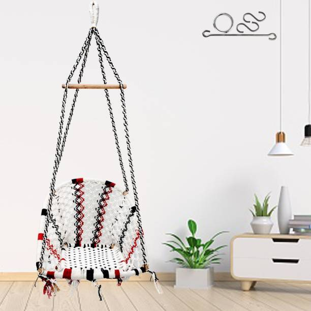 Patiofy D-Shape Cotton Rope Swing Chair Cotton Small Swing