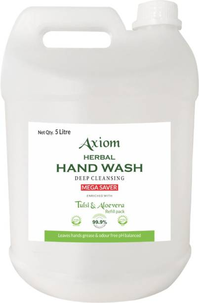 AXIOM Herbal Hand Wash 5 ltr enriched with Aloevera & Tulsi(Refill Pack) Hand Wash Can
