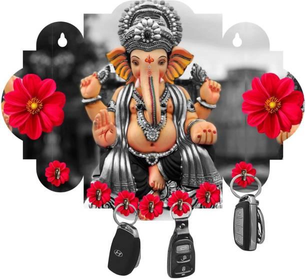 Brothers Creation Ganesha Beautiful Home Wooden Key Holder Wood Key Holder