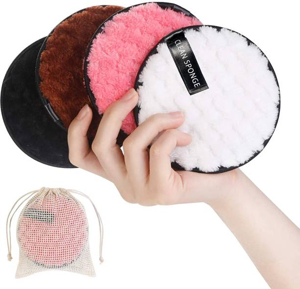 REHTRAD Pack of 4 Makeup Remover Cotton pads for Face ?Reusable Makeup Remover Facial Cleansing Pads,Black White Pink Brown Makeup Remover