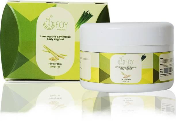 foynaturals Lemongrass & Primrose Body Yoghurt | Nourishing & Moisturising cream for Summer - 200g | Women & Men | For Normal to Oily Skin with Rosemary & Cucumber extract