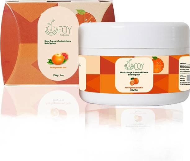 foynaturals Blood Orange & Seabuckthorn Body Yoghurt | Nourishing & Moisturising cream for Summer - 200g | Women & Men | For Pigmented Skin with Shea butter & Rosehip