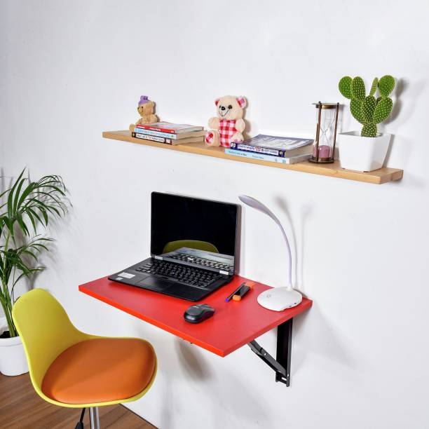 Torche Wall mounted Office Study table(24 inches X 16 inches) ,Office Table Stand/Laptop Table Foldable..(Red) Solid Wood Study Table