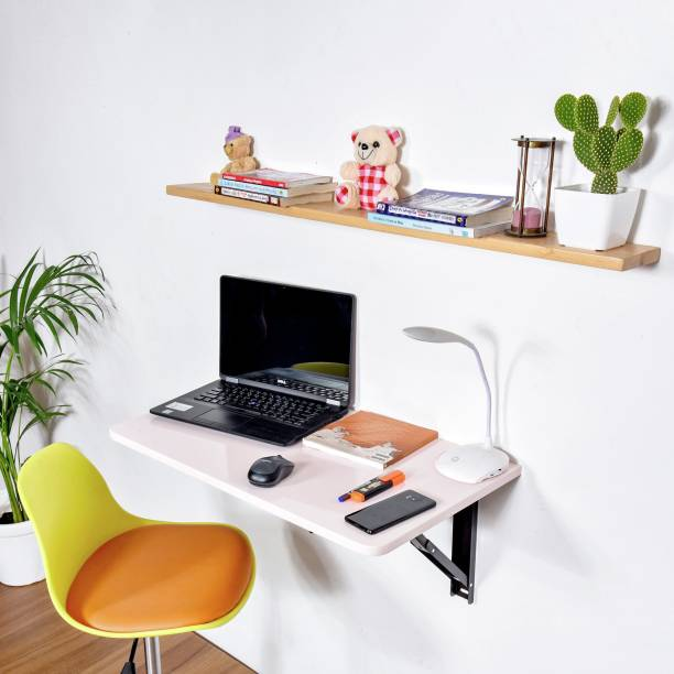 Torche Wall mounted Study table(28.5 inches X 16 inches) round corner ,Office Table Stand/Laptop Table Foldable- 100% Made in India..(Pink) Solid Wood Study Table