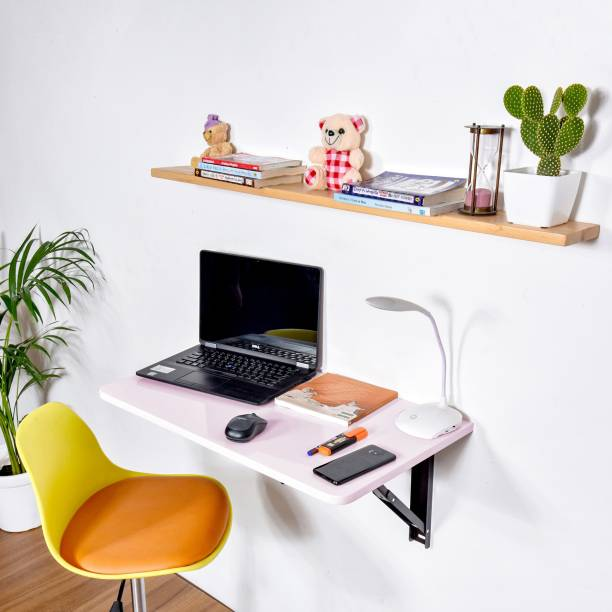 Torche Wall mounted Study table(31 inches X 16 inches) round corner ,Office Table Stand/Laptop Table Foldable- 100% Made in India..(Pink) Solid Wood Study Table