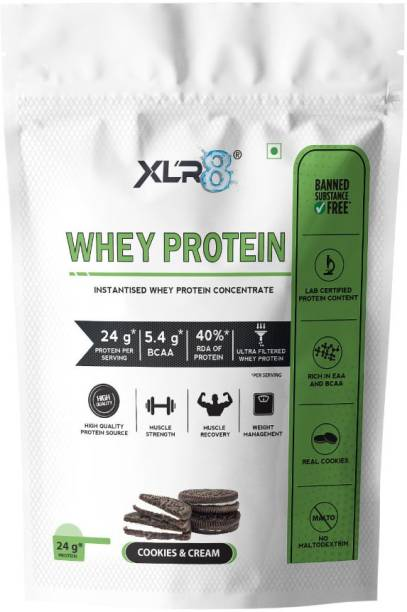 XLR8 Whey Protein with 24 g protein, 5.4 g BCAA - 1 lbs / 454 g Whey Protein