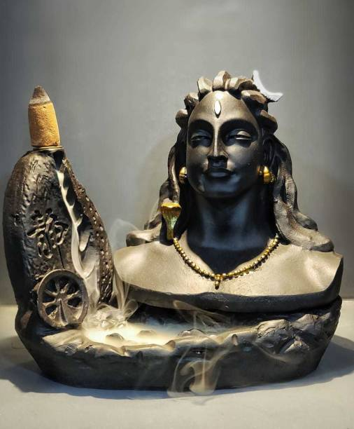 Kitchen Hub Kitchen Hub Adiyogi Dhyana Mudra Idol Fountain with 10 Smoke Backflow Cones Statue, Matte Black, for Worship. Decorative Showpiece Polyresin Incense Holder
