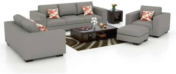 Torque Mendoza 6 Seater Sofa Set for Living Room with Ottoman (Grey) Fabric 3 + 2 + 1 Grey Sofa Set