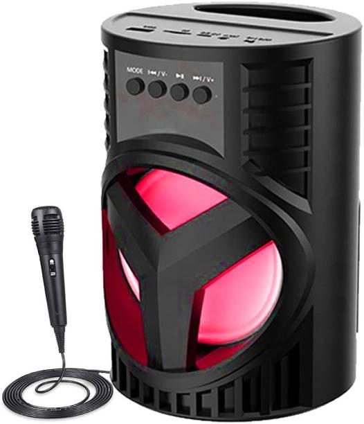 F FERONS LZ-4103 3D sound  Splashproof  karaoke mic Speaker   Wireless Led Light  Deep Baas Stereo subwoofer sound system   mini Home theatre  AUX supported  DJ Disco light Carry Handle Speaker  FM Radio USB, Micro SD Card Reader   Long hour battery Life  [Free mic] 10 W Bluetooth Speaker