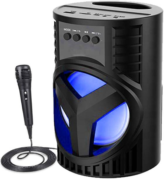 F FERONS BEST BUY LZ-4103 3D sound  Splashproof  Water resistant  Wireless Led Light  Deep Baas Stereo subwoofer sound system   mini Home theatre  AUX supported  DJ Disco light Carry Handle Speaker  FM Radio USB, Micro SD Card Reader   Long hour battery Life  [karaoke mic] 10 W Bluetooth Speaker