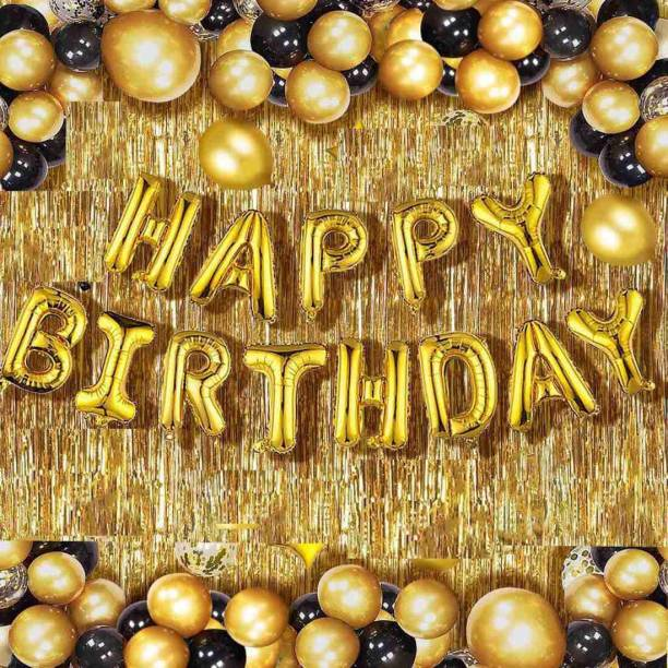 Divvay Decorz Solid Happy Birthday Golden Foil Letter Balloons(13 foil latter 1 pack)With 50 Pic Black Gold Balloons And 2 Pcs Golden Metallic Fringe Shiny Curtains(Pack Of 65) Balloon