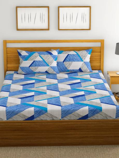 Country Home 210 TC Satin Double Geometric Bedsheet