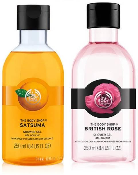 THE BODY SHOP British Rose Shower Gel 250ml & Satsuma Shower Gel 250ml Combo