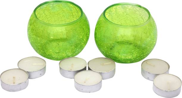 Real Product India Tea Light Candle Holder for Home / Bedroom / Shop / Festival / Parties decoration Glass 7 - Cup Tealight Holder Set