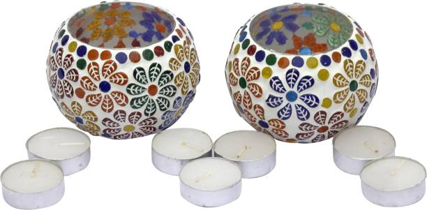 Real Product India Tea Light Candle Holder (Rangoli Design) for Home / Bedroom / Shop / Festival / Parties Decoration (Pack of 2) with Free 7 Tea Light Candle. Glass 7 - Cup Tealight Holder Set