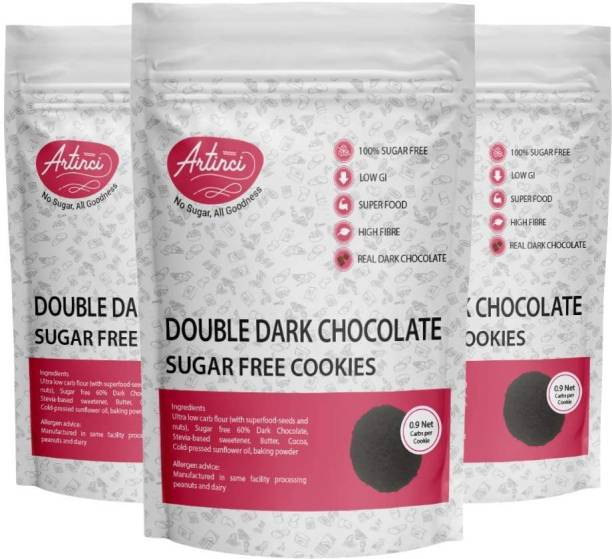 Artinci Double Dark Chocolate Keto Cookies  100% Sugar Free   Low Carb   Made with Real Chocolate (Weight _190*3 gram, Pack of 3) Cookies