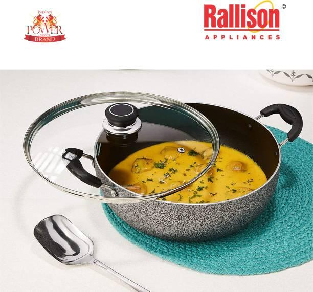 Rallison Appliances DELUXE Medium 2.5 Litres KADHAI 24 cm with GLASS Lid (Aluminium, Non-stick) Cookware Set
