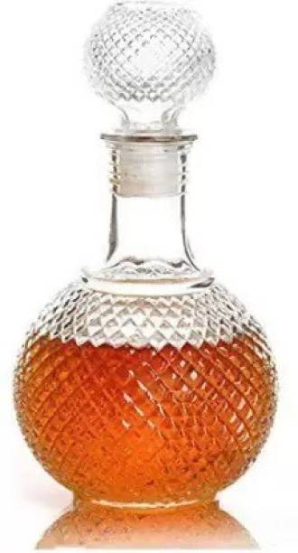 Riddhi Enterprise Round Ball Shape Whiskey Wine Beer Brandy Water Champagne Drinking Glass Bottle Decanter w/Cap Stopper (Empty Bottle 1, 1000 ml) whisky Decanter