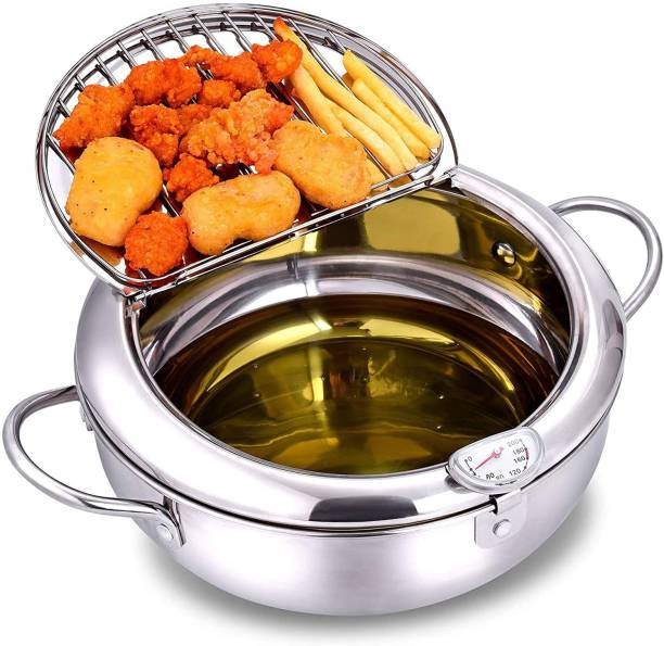 Hunk shopper's Deep Fryer Pot, Best quality Stainless Steel with Temperature Control and Lid Japanese Style Tempura Fryer Pan Uncoated Fryer 2.2 L Electric Deep Fryer