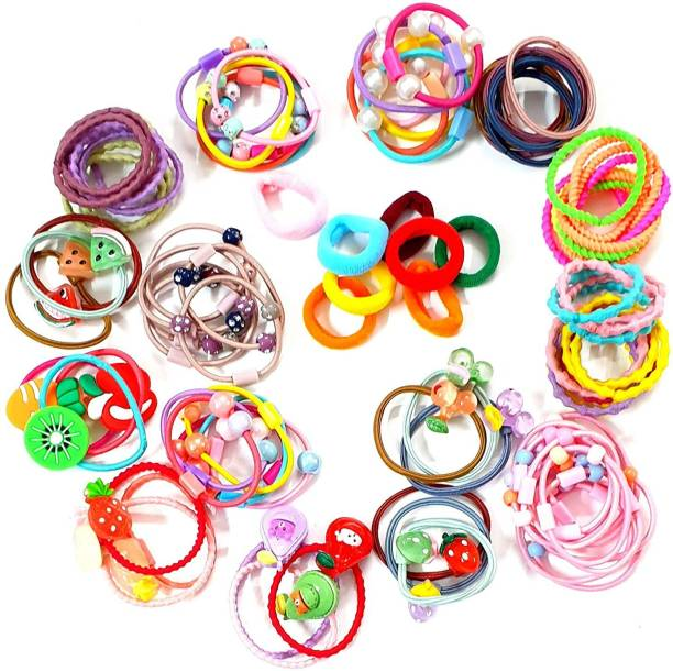 HOMEMATES 100 Fancy Pieces Elastic Hair Ties Mini Hair Bands Tiny Rubber Bands Colored Girls Ponytail Holders for Baby Kids Hair Band (Multicolor) Rubber Band