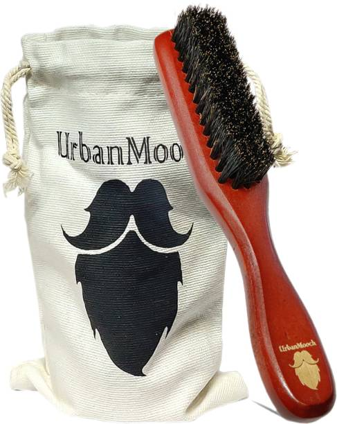 UrbanMooch 100% Boar Bristle Beard Brush with Grass Tree Wooden Handle — Straightens and Promotes Beard Growth — Works with Beard Oils and Balms — Premium & Stylish