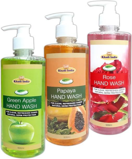 khadi natural herbal Hand Wash Green Apple - Papaya & Rose (Pack of 3) Hand Wash Pump Dispenser