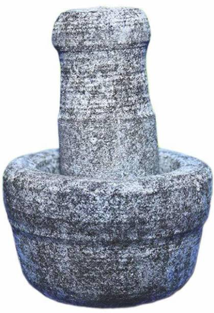 subaa Subaa Stone Mortar and Pestle Set/Ural/Idikallu/Okhli Stone Masher -Samll Stoneware Masher