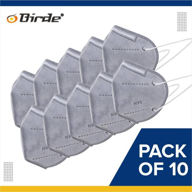 Birde N95 Mask Filter Pro 5 Layers Triple Particle Filtration System For Anti Virus, Anti Pollution, Anti Dust, Outdoor Protection Face Mask For Germ Protection MD-0601-GRY-10 Reusable, Washable