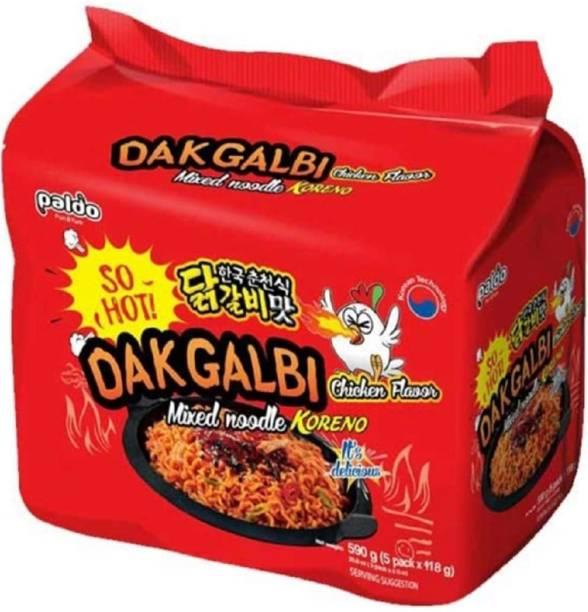 Paldo DakGalbi Chicken Flavour Mixed Noodles KORENO 590 Gm (Pack Of 5 ) ( 5* 118 Gm) Instant Noodles Non-vegetarian