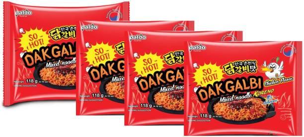 Paldo DakGalbi Chicken Flavour Mixed Noodles KORENO 472 Gm (Pack Of 4 ) ( 4* 118 Gm) Instant Noodles Non-vegetarian