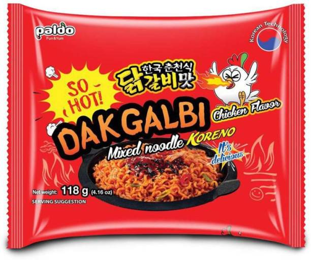 Paldo DakGalbi Chicken Flavour Mixed Noodles KORENO 118 Gm (Pack Of 1 ) ( 1*118 Gm) Instant Noodles Non-vegetarian