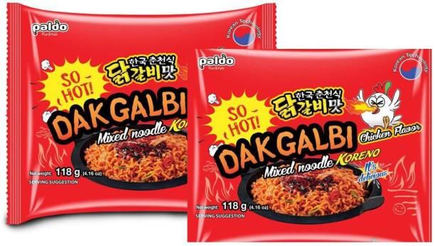 Paldo DakGalbi Chicken Flavour Mixed Noodles KORENO 236 Gm (Pack Of 2 ) ( 2 * 118 Gm) Instant Noodles Non-vegetarian