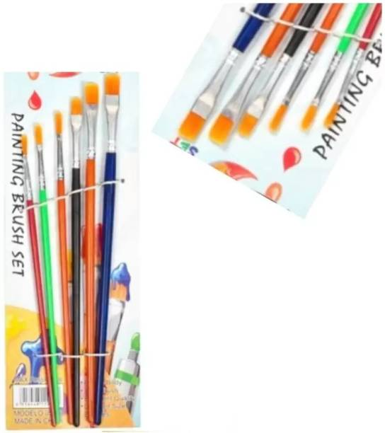 CRAZYGOL 6 Different Sizes Synthetic Flat Paint Brush Paintings Brush set of 6 Multicolor