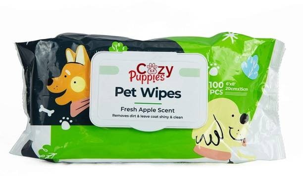 Cozy Puppies All Natural Deodorizing Antibacterial Dog/Cat's Ears, Eyes, Paws Cleaning Wipes Pet Ear Eye Wipes (Pack of 100) Pet Ear Eye Wipes