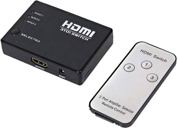 Frackson HDMI Switch Splitter 3-Port 3 in 1 Out Monitor Switch Supports 3D Full HD 1080p High Speed with IR Remote Control Media Streaming Device