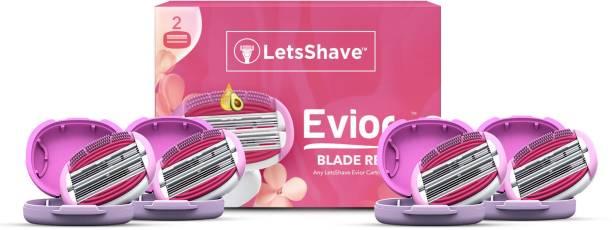 LetsShave Evior 6 Blade Shaving Razor System for Women with Brush Fingers + Moisturising Band + Razor Cap (Pack of 4 Blades)