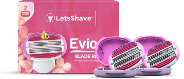 LetsShave Evior 6 Blade Shaving Razor System for Women with Brush Fingers – Moisturising Band + Razor Cap (Pack of 2 Blades)