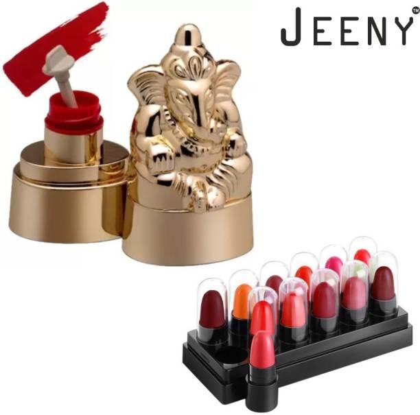 Jeeny Sindur Kumkum Ganesha statue Sindur (Red) + mini lipsticks powder