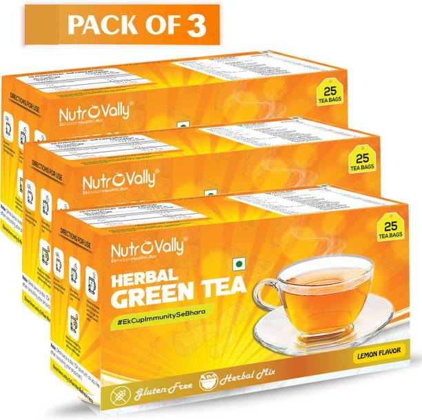 NutroVally Herbal green tea for weight loss & Build Immunity | Premium tea leaves with 18 Active Ingredients (herbal Green tea bag) Lemon Herbal Tea Bags Box Lemon Herbal Tea Bags Box