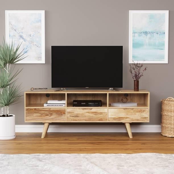 DecorNation Mango Wood TV Table With 3 Drawers Engineered Wood TV Entertainment Unit